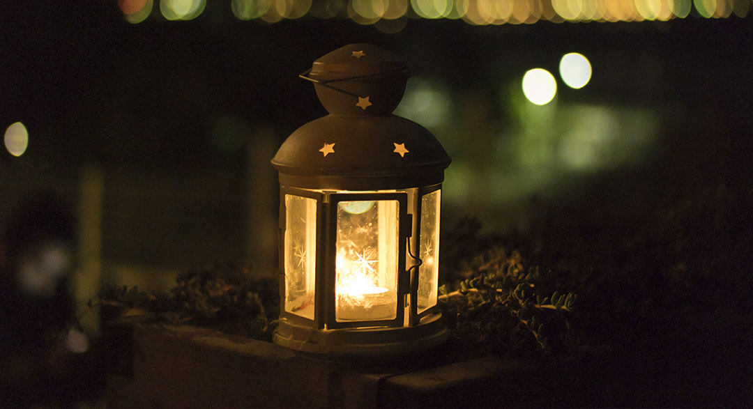 modern mystery school lantern shining at night